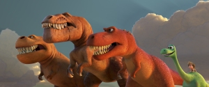 """A TRIO OF T-REXES — An Apatosaurus named Arlo must face his fears—and three impressive T-Rexes—in Disney•Pixar's """"The Good Dinosaur."""" Featuring the voices of AJ Buckley, Anna Paquin and Sam Elliott as the T-Rexes, """"The Good Dinosaur"""" opens in theaters nationwide Nov. 25, 2015. ©2015 Disney•Pixar. All Rights Reserved."""