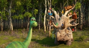 THE GOOD DINOSAUR - Pictured (L-R): Arlo, Forrest Woodbush (aka: The Pet Collector). ©2015 Disney•Pixar. All Rights Reserved.
